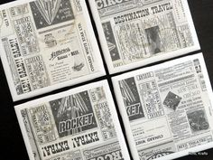 Newspaper Tile Coasters Tile Coasters Coaster by KimLKrafts