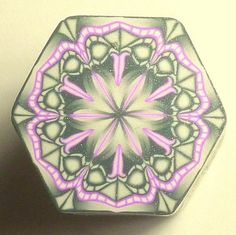 LARGE Silver and Pink Hexagon Polymer Clay Cane door ClaybyKerm