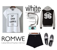 """Romwe-Letter Print White T-Shirt"" by seemraaa ❤ liked on Polyvore featuring Keds"