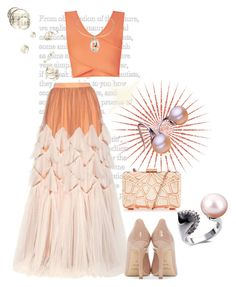 """""""Tulle"""" by freida-adams ❤ liked on Polyvore featuring Dries Van Noten, BCBGMAXAZRIA, Yves Saint Laurent, peach, tulleskirt, crystalnecklace and pearljewelry"""