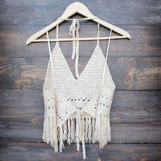 festival fringe crochet halter top in sand from shophearts. Crochet Halter Tops, Crochet Bikini Top, Gilet Crochet, Crochet Lace, Crops Tops, Mode Crochet, Backless Top, Festival Tops, Lace Crop Tops