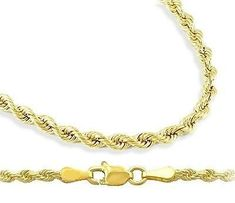 14k Yellow Gold Necklace Diamond Cut Rope Chain Solid 3mm , 22 inch Jewel Roses. $1052.00. Save 53%!