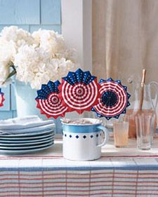 Wave away the heat, and proclaim your allegiance, with these red, white, and blue decorations.