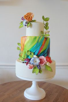 Hand Painted Rainbow Wedding Cake with Sugar Flowers - Vegan Wedding Cake Gay Wedding Cakes, Elegant Wedding Cakes, Elegant Cakes, Wedding Cake Designs, Wedding Cupcakes, Rainbow Wedding Cakes, Cake Bake Shop, Vegan Wedding Cake, Sugar Flowers