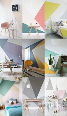 Kleines Haus Geometric wall mural A Guide To Acne Skin Care Article Body: Acne is a problem faced pr Bedroom Wall Designs, Diy Bedroom Decor, Living Room Decor, Room Wall Painting, Room Paint, Interior Walls, Interior Design, Room Color Schemes, Bedroom Colors