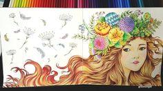 "Gefällt 556 Mal, 32 Kommentare - TwoYun's[ South Korea ] (@sseungei) auf Instagram: ""✔2016.2.27 신비한 숲 속 도서관 No.2 ➡ Be completed✌ 애정인친님들과 릴레이 컬러링 2탄 샤랄라~ 화관을 쓴 꽃소녀 바탕은 이번에도 pass…"""