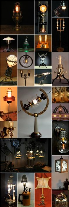 Steampunk lamps, some with Edison light bulbs #TopbulbEdison