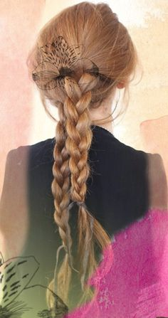 Double braids. when my hair is long again, i will be doing this. and throwing flowers up in there :D
