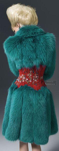 Versace Atelier Blue Faux Fur Coat Animalistic Fashion #UNIQUE_WOMENS_FASHION