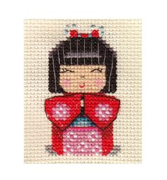 """Japanese Kokeshi Doll Full Counted Cross Stitch KIT 