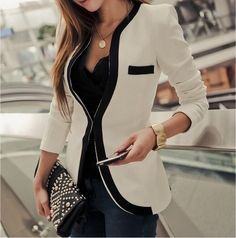 Work wear idea, white blazer with black detail