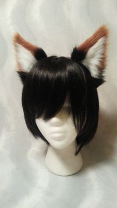 Black and Red Fox ears (v1) - headband                                                                                                                                                                                 More