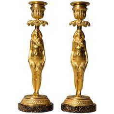 Pair of Ormolu and Porphyry Candlesticks, circa 1800 | From a unique collection of antique and modern candleholders and candelabra at https://www.1stdibs.com/furniture/lighting/candleholders-candelabra/