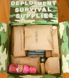 Deployment care package-- probably going to come in handy in the future Soldier Care Packages, Deployment Care Packages, Adopt A Soldier, Military Deployment, Deployment Gifts, Army Mom, Army Sister, Army Husband, Military Girlfriend