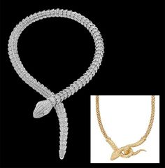 Afordable Snake Jewelry: Pictured: Bulgari Serpenti Diamond Necklace and Snake Necklace in 24K Gold-Plated Metal, $206,