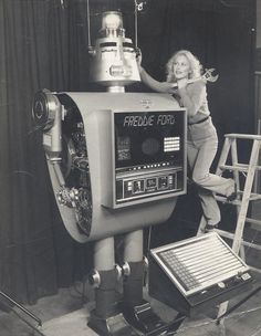 Meet Freddie Ford, a robot made mostly of the component parts of Ford cars, in order to appear at Trade shows.
