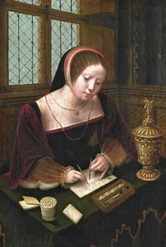 z- by 'Master of Female Half-Length' (active-1530-40)- Lady Writing at Desk