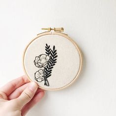 wildflower floral hand embroidery black work embroidery hoop