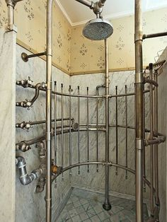 Seriously awesome ribcage shower in 1911 CT home.