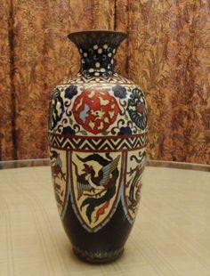 Antique Japanese Pheonix and Dragon Deco Style Cloisonne Vase