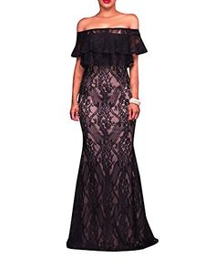 Lace Long Dress Womens Sexy Off Shoulder Ruffle Maxi Bodycon Dress Elegant design for Party wedding dinner date With Size S to XL XLarge ** You can get additional details at the image link. #WomenFashion