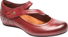 Rockport Shoes - Say no to bland and boring and yes to simple, yet stylish with the classic Rockport Cobb Hill Sharleen Mary Jane. This casual slip on is accented with a wedge heel and laser-cut details that amp up your look for the day. - #rockportshoes #wineshoes