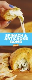 & Artichoke Bomb You haven't lived unless you've tried this Spinach & Artichoke Bomb Get the recipe at .You haven't lived unless you've tried this Spinach & Artichoke Bomb Get the recipe at . Finger Food Appetizers, Yummy Appetizers, Appetizers For Party, Appetizer Recipes, Cheese Appetizers, Party Dips, Appetizer Ideas, Dinner Recipes, Bombe Recipe