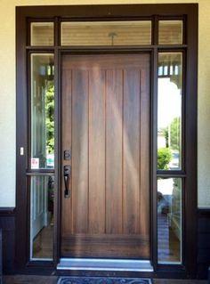 Inspiring Front Entry Doors Design Ideas – Home Door Ideas – door Front Door Entryway, Entry Door With Sidelights, Wooden Front Doors, Modern Front Door, Exterior Front Doors, House Front Door, House Doors, Front Entry, Exterior Windows