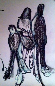 "'Don't Take My Kindness For Weakness - Unity.' Mixed Media On Card 6x4"" inch. #RosannaJacksonWright #Art #Drawing #Unity #Strength #Abstract #Figurative #York #England #NYC #USA #Genoa #Italy #Mexico"
