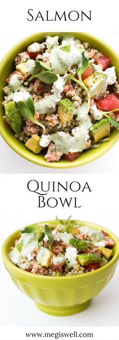 Quinoa, salmon, diced tomatoes & avocado, sunflower sprouts, crumbled feta cheese, and a Mixed Herb Greek Yogurt dressing make a high protein, filling, and healthy meal with great flavors and textures. | www.megiswell.com