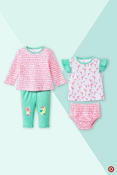 All baby girls will look oh-so sweet (and on trend) with this adorable Oh Joy! 4-pc. Flamingo Collection in summer-ready pink, mint and peach hues. This set includes a long-sleeved, ribbon-print tee; pull-on pants with cute, colorful accents; a flamingo-print flutter-sleeve tee and ribbon-print briefs. All are made for easy mixing and matching. They're so playful and fun-looking, you'll just have to take pics! Check out all Oh Joy! apparel at our online shop.