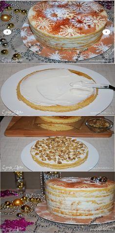 """Bolo """"flocos de neve cremosos"""" passo a passo  salve esse Pin Este bolo derrete na boca. Muito delicado, os bolos cremosos derramados com nozes fritas provocaram um sabor ligeiramente salgado e cremoso do creme. Um bolo delicioso, gentil e fácil de preparar decorará a mesa festiva. #bolo#torta#doce#sobremesa#aniversario Mousse, Sugar And Spice, Let Them Eat Cake, Sweet Recipes, Camembert Cheese, Creme, Frozen, Food And Drink, Pudding"""