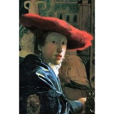 Buyenlarge 'Girl with Red Hat' by Johannes Vermeer Painting Print Size: