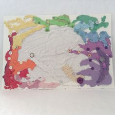 Rainbow Series #6 - Home Décor - Button Art - Original -  Handmade Paper  - ready to frame by TheWhatNaught on Etsy