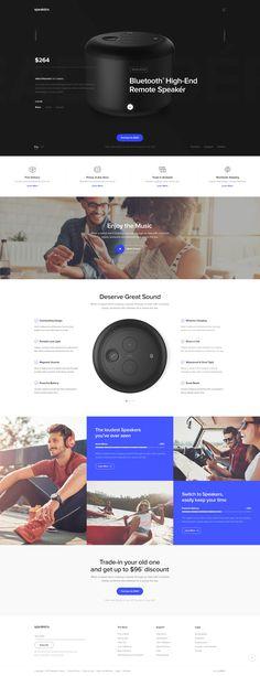 Bluetooth headphones/speakers landing page design (UI/UX)