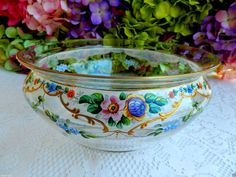 Beautiful Vintage Moser Glass Bowl Hand Painted Enamel Flowers ~ Gold Gilt #Moser