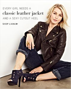 Julianne Hough, love her, love the leather jacket. Passion For Fashion, Love Fashion, Fashion Beauty, Autumn Fashion, Fashion Outfits, Julianne Hough Hair, Classic Leather Jacket, Black Leather, Cut And Style