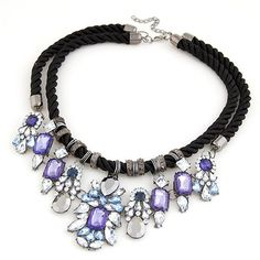Min Order $10 Luxury Fashion Crystal Drop Necklace Rope Chain Multilayers Short Women Necklace