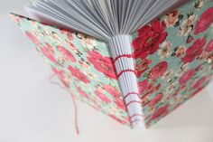 Hot Pink & Blue Floral Pattern Coptic Journal by PaperToPen