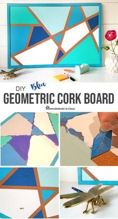 Blue geometric design on cork board