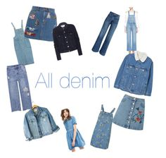 """All denim<3"" by rosaberdiin on Polyvore featuring H&M, Chicnova Fashion, Paul & Joe, Topshop, Miss Selfridge, Marc Jacobs, Calvin Klein, Acne Studios, Frame and MANGO"