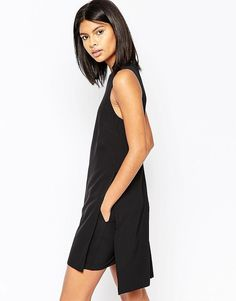 ASOS Minimal Romper with Overlay - Black