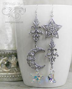 Celestial Swarovski asymmetrical earrings from The Vintage Angel
