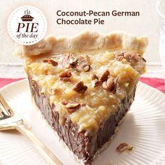 Coconut-Pecan German Chocolate Pie Recipe #delicious #recipe #cake #desserts #dessertrecipes #yummy #delicious #food #sweet