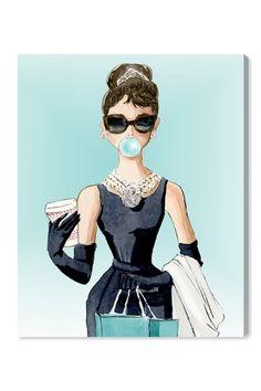 Oliver Gal 'Bubble Gum Jewelry' Graphic Art Print on Canvas Dorm Canvas, Canvas Art, Canvas Prints, Audrey Hepburn Kunst, Arte Marilyn Monroe, Painting Prints, Art Prints, Posters Vintage, Illustration Art