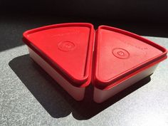 Tupperware Pie Wedge Container Set of 2 Clear Cranberry Red Seals