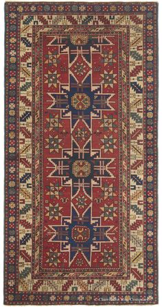 Caucasian rug from prized Lesghi tribe, panoply of century rugs of the Caucasus, some of the best revealed an especially elemental and primitive designs. Persian Carpet, Persian Rug, Art Chinois, Rug Company, Art Japonais, Magic Carpet, Tribal Rug, Modern Rugs, Woven Rug