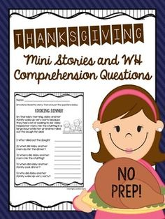 THANKSGIVING!!!  10 mini stories with comprehension questions!