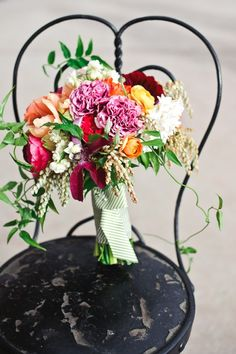 pink and orange bouquet from BareRootFlora.com