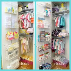 how a DIY closet went from infant to toddler use! #baby #organization